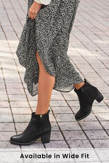 Black Forever Comfort® Zip Detail Ankle Boots