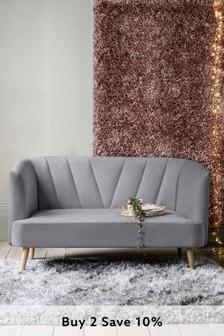 Opulent Velvet Steel Callie Small Sofa With Light Legs