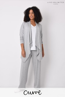 Live Unlimited Curve Grey Marl Jersey Wide Leg Trousers