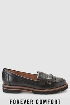 Black  Forever Comfort Fringe Leather Loafers