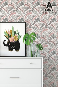 A Street Grey/Pink Floral Wallpaper