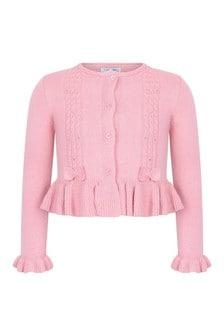 Girls Pink Cotton & Wool Cardigan