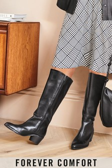 Black Forever Comfort® Chisel Toe Western Knee High Boots