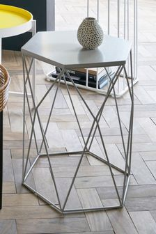 Grey Hexagon Side Table / Bedside