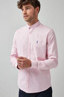 Pink Slim Fit Long Sleeve Stretch Oxford Shirt