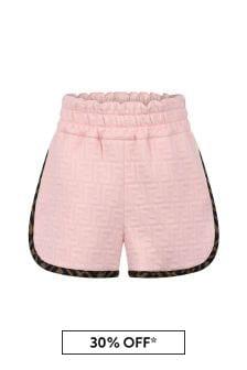 Girls Pink FF Logo Shorts