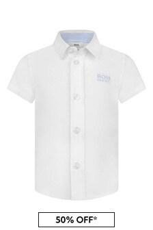 Baby Boys White Short Sleeve Cotton Shirt
