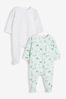 Mint Linear Character 2 Pack Zip Sleepsuits (0-2yrs)
