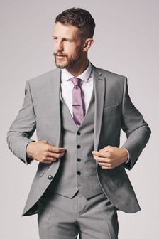 Light Grey Tailored Fit Wool Blend Stretch Suit: Jacket