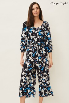 Phase Eight Blue Magnolia Floral Jersey Jumpsuit