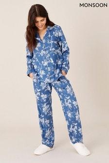 Monsoon Blue Floral Print Pyjama Set