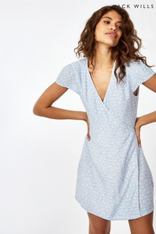 Jack Wills Blue Print JW Eastbourne Wrap Dress