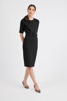 Black Ponte Bodycon Dress
