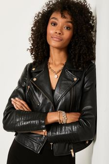 Mint Velvet Smoke Leather Biker Jacket