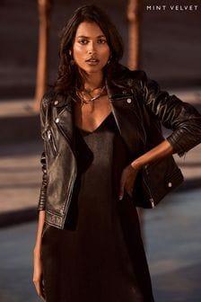 Mint Velvet Black Stitched Leather Biker Jacket