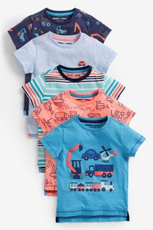 Blue Transport Short Sleeve T-Shirts Five Pack (3mths-7yrs)