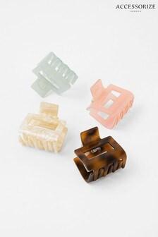 Accessorize Brown Rectangle Bulldog Clip Set