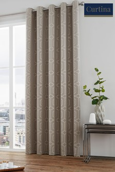 Curtina Stone Camberwell Geo Lined Eyelet Curtains
