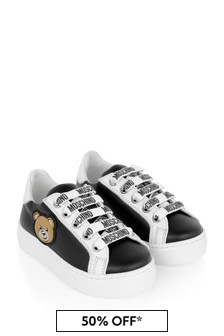 Kids Black Leather Teddy Trainers