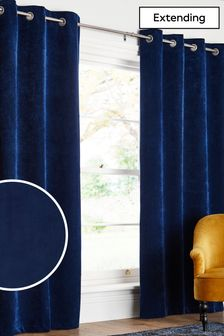 Navy Soft Velour Eyelet Lined Curtains