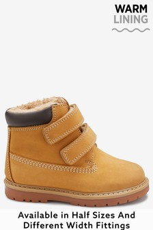 Honey Warm Lined Touch Fastening Work Boots (Younger)