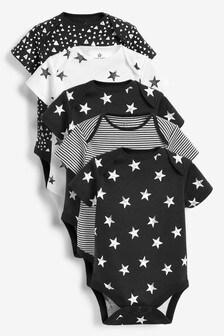 Monochrome 5 Pack Multi Print Short Sleeve Bodysuits (0mths-2yrs)