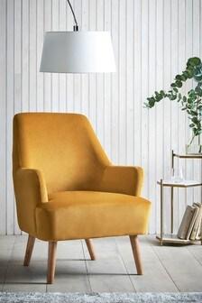 Opulent Velvet Ochre Cindy Accent Chair With Walnut Effect Legs