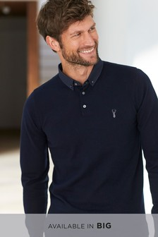 Navy   Woven Collar Knitted Polo