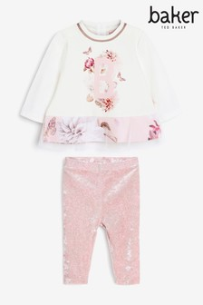 Baker by Ted Baker Baby Girl Mesh Hem Top And Leggings Set