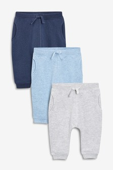 Blue 3 Pack Joggers (0mths-2yrs)