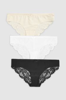 Black/White/Nude Brazilian No VPL Lace Back Brazilian Briefs Three Pack