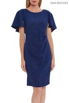 Gina Bacconi Blue Sahar Embossed Floral Jacquard Dress