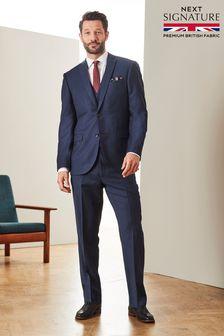 Blue Regular Fit Signature Flannel Suit: Jacket