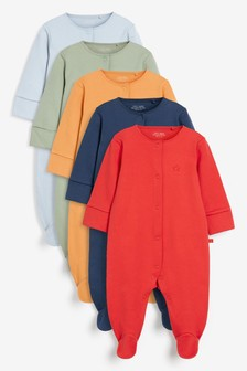 Mineral Plain 5 Pack Sleepsuits (0mths-2yrs)