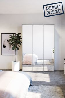 Mirror Peyton 1.5M Glass Hinged 3 Door Wardrobe