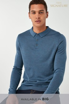 Blue   Merino Polo