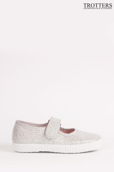 Trotters London Silver Martha Canvas Shoes