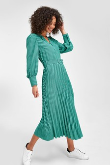 Green/Black Check Belted Pleat Dress