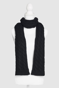 Black  Cable Scarf