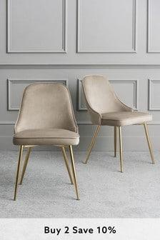 Opulent Velvet Pebble Set Of 2 Skyla Dining Chairs With Brass Legs