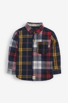 Navy/Red Long Sleeve Splice Check Shirt (3mths-7yrs)