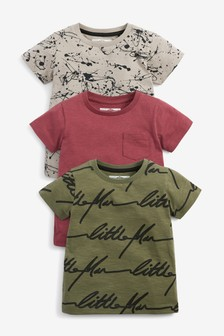 Splat 3 Pack Short Sleeve All Over Print T-Shirts (3mths-7yrs)