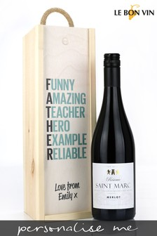Personalised Best Dad French Merlot Wine Gift Box by Le Bon Vin