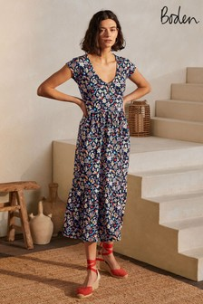 Boden Blue Voop Cotton Tiered Dress
