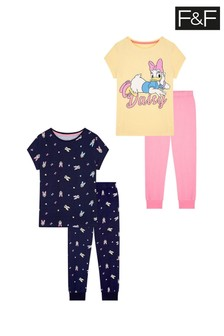 F&F Daisy Yellow Pyjamas Two Pack