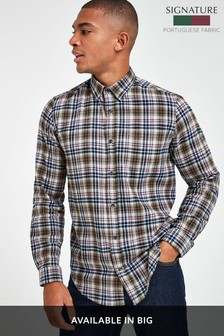 Grey Regular Fit Brushed Flannel Check Long Sleeve Shirt