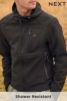 Black Shower Resistant Softshell Hooded Jacket
