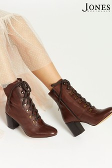 Jones Bootmaker Tan Liana Lace-Up Heeled Ladies Ankle Boots