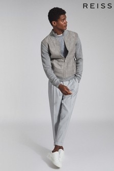 Reiss Grey Bernardi Quilted Ribbed Knit Jacket