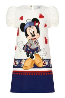 Girls Ivory And Navy Crepe Minnie Mouse™ Dress